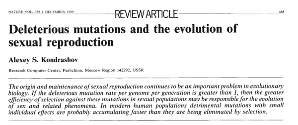 Deleterious mutations and the evolution of sexual reproduction, by Alex Kondrashov, 1988